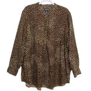 Land's End Plus Leopard Flannel Tunic Top New